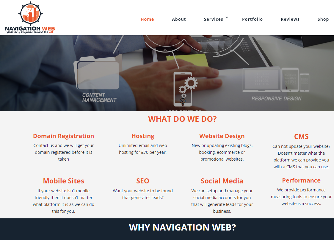 Navigation Web website